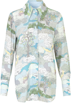 Stine Goya James Shirt - Dreamscape Aqua SUSTAINABLE - XL .