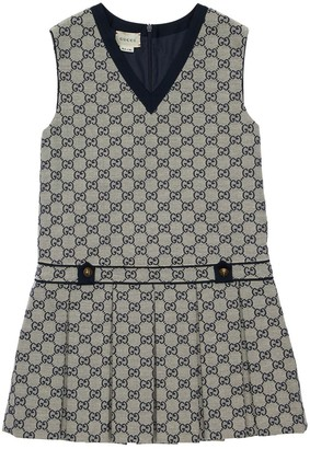 Gucci Logo All Over Cotton Canvas Dress