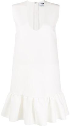 MSGM U-neck ruffled-hem dress