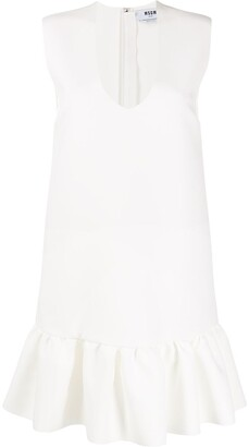 MSGM U-neck ruffled-hem dress