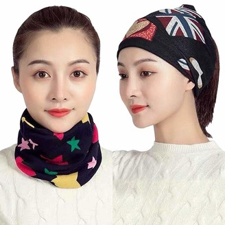 Brand Kruze 2 Pack Womens Ring Neck Warmer Scarf Twisted Head Band Wrap Snood Woven Knitted Ladies 3 in 1 Multifunction Face Covering Bandana UK Stars