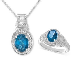 Macy's London Blue Topaz (3 ct. t.w.) & Diamond Accent Pendant Necklace and Matching Ring Set in Sterling Silver