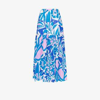 Emilio Pucci Womens Blue Printed Tiered Cotton Maxi Skirt