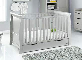 O Baby Obaby Stamford Classic Sleigh Cot Bed, Warm Grey