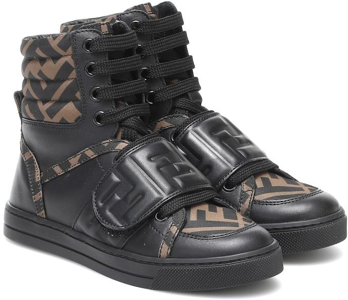 Fendi Kids FF leather high top sneakers