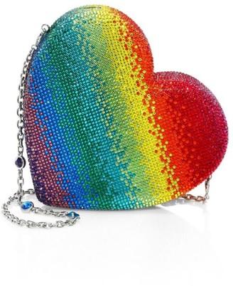 Judith Leiber Couture Rainbow Heart Crystal Clutch