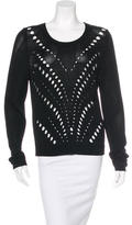 Sandro Crew Neck Pointelle Sweater