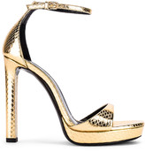 Saint Laurent Hall Ankle Strap Sandals in Gold | FWRD