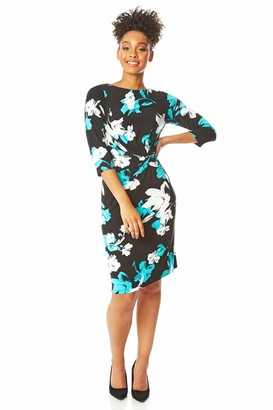 Roman Originals Women Floral Print Twist Knot Ruched Waist Dress - Ladies Shift Pencil Smart Lined Round Neckline 3/4 Sleeve Knee Length Work Fitted Bodycon Stretchy Jersey - Black & Cream - Size 12