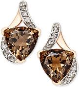 Macy's Smokey Quartz (3-5/8 ct. t.w.) and Diamond (1/8 ct. t.w.) Stud Earrings in 14k Rose Gold