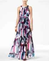 Vince Camuto Printed Pleated Halter Maxi Dress