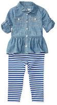 Ralph Lauren Childrenswear Two-Piece Chambray Dress and Legging Set