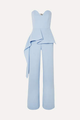 Roland Mouret Strapless Draped Wool-crepe Jumpsuit - Sky blue