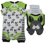 Buster Brown Baby Boys Green Dog Print Pants Bib Booties Onesie Set 0-3M