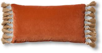 One Kings Lane Koren 12x23 Lumbar Pillow - Orange Velvet