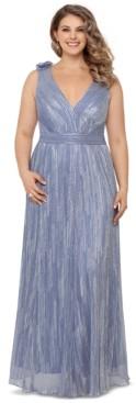 Xscape Evenings Plus Size Metallic V-Neck Gown