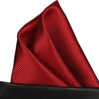 Efeel (T05) Red Solid Check Men Formal Pocket Square Hanky Wedding Party Handkerchief