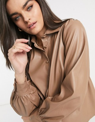ASOS DESIGN long sleeve leather look shirt in tan