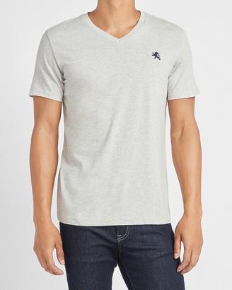Express Small Lion Heathered Cotton V-Neck T-Shirt