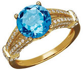 Lord & Taylor Swiss Blue Topaz, Diamond and 14K Yellow Gold Ring, 0.53 TCW