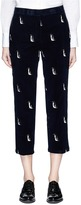 Thom Browne Penguin embroidered cropped corduroy pants