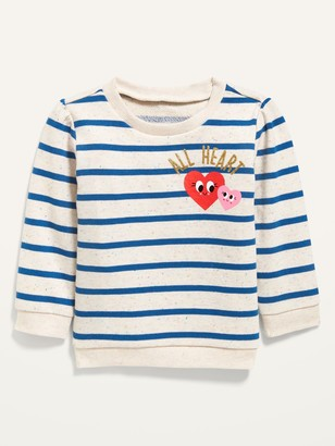 Old Navy Unisex Valentine-Graphic French Terry Striped Pullover Sweater for Baby