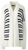 Lands' End Women's Petite Drifter Cotton Stripe Sweater Coat-Eggshell White Stripe