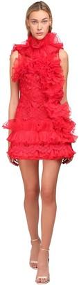 Yolancris Ruffled Sheer Lace Mini Dress