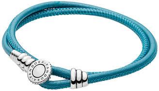 Pandora Charm Carrier Silver Cz & Turquoise Double Leather Wrap Bracelet