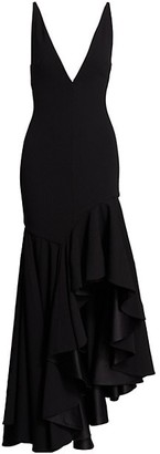 SOLACE London Edana Ruffled High-Low Maxi Dress