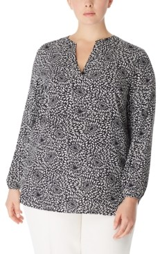 Anne Klein Plus Size Printed Split-Neck Blouse