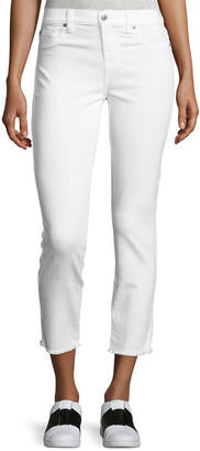 7 For All Mankind Roxanne Raw-Edge Ankle Skinny Jeans, White