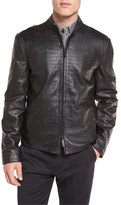 Armani Collezioni Crocodile-Embossed Leather Bomber Jacket, Black