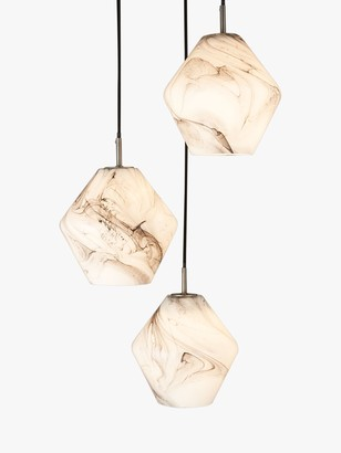 John Lewis & Partners Ada 3 Pendant Ceiling Light, White/Grey