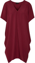 Hatch The Slouch Draped Crepe De Chine Mini Dress - Burgundy