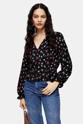 Topshop Womens Tall Black Ditsy Floral Print Twill Top - Multi Dark