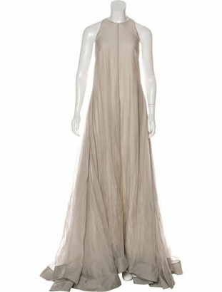 Brunello Cucinelli Silk Evening Dress Beige