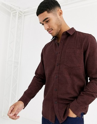 ASOS DESIGN regular fit flannel marl shirt in burgundy