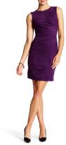 London Times Pleated Faux Suede Sheath Dress (Petite)