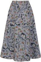 Erdem Tiana Printed Matelassé Midi Skirt - Blue
