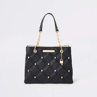River Island Black quilted studded tote bag