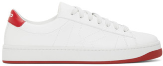 Kenzo White and Red Kourt K Logo Sneakers