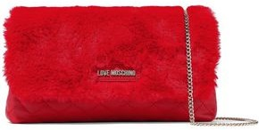 Love Moschino Faux Fur And Quilted Faux Leather Shoulder Bag