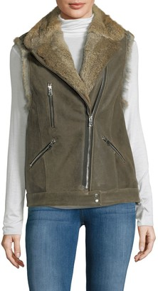Wolfie Fur Rabbit Fur-Trim Leather Vest
