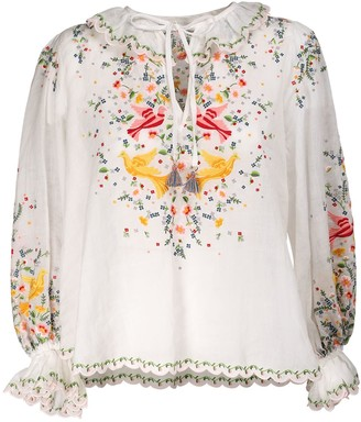 Zimmermann Carnaby Embroidered Voile Shirt