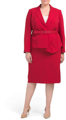 Plus Skirt Suit With Draped Jacket