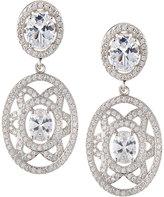 FANTASIA Elaborate Floral-Motif Oval CZ Crystal Double-Drop Earrings