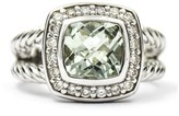 David Yurman 925 Sterling Silver Petite Albion With Prasiolite & Diamonds Ring Size 4
