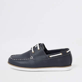 River Island Boys navy textured lace-up boat shoes