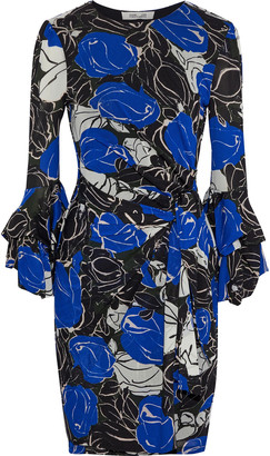 Diane von Furstenberg Faridah Wrap-effect Printed Stretch-mesh Mini Dress